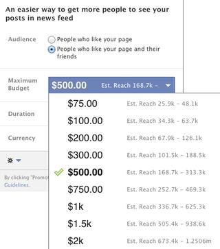 Facebook Promouvoir