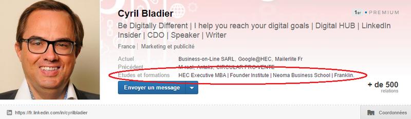 LinkedIn formation dans encadré supérieur