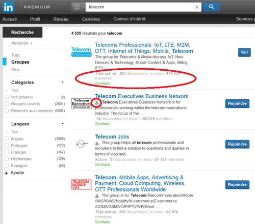 LinkedIn résultats recherche groupe