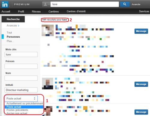 LinkedIn recherche avancée poste actuel