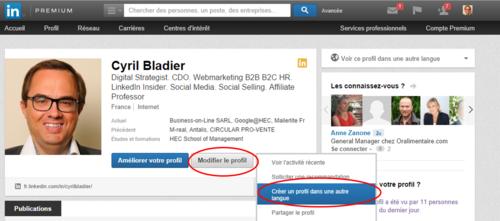 Linkedin créer un profil dans une autre langue