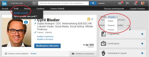LinkedIn modifier un profil dans une autre langue