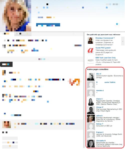 LinkedIn autres pages consultées