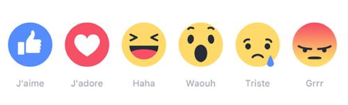 Facebook reactions en francais