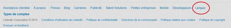 LinkedIn choix langue interface