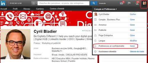 LinkedIn Préférences et confidentialité