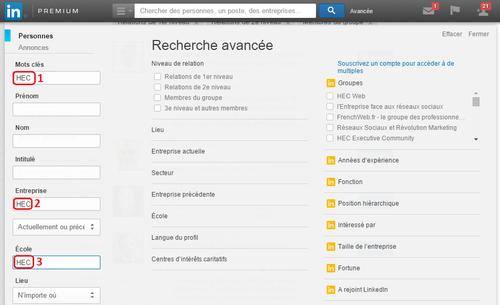LinkedIn exemple recherche avancée simple