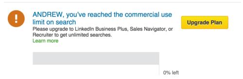 LinkedIn reach search limit