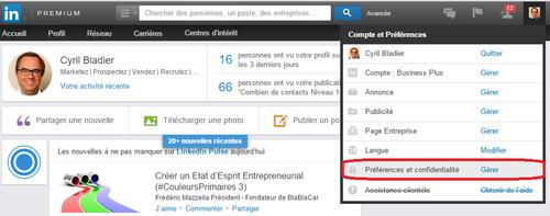 LinkedIn Préférences Confidentialité
